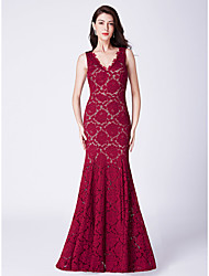 cheap -Mermaid / Trumpet V Neck Floor Length Lace Elegant Formal Evening Dress with 2020