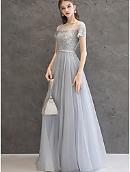 cheap -A-Line Jewel Neck Floor Length Cotton / Tulle Sparkle & Shine / Elegant Prom / Formal Evening Dress 2020 with Beading / Sequin / Crystals