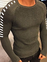 cheap -Men's Solid Colored Long Sleeve Pullover Sweater Jumper, Round Neck Black / White / Army Green US34 / UK34 / EU42 / US36 / UK36 / EU44 / US38 / UK38 / EU46