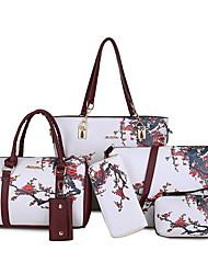 cheap -Women's Bags PU Leather Bag Set 6 Pieces Purse Set Zipper Floral Print Daily Bag Sets Handbags White Black Purple Red