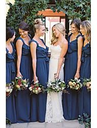 cheap -A-Line V Neck Floor Length Chiffon Bridesmaid Dress with Sash / Ribbon / Ruffles