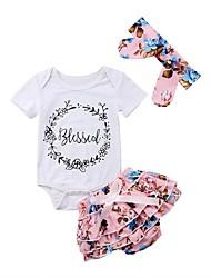 cheap -Baby Girls' Casual Active Print Print Short Sleeve Long Clothing Set Blushing Pink
