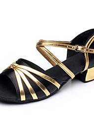 cheap -Girls' Dance Shoes Satin / PU Latin Shoes Bowknot / Splicing Heel Thick Heel Black / Fuchsia / Light Red