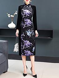 cheap -Women's Black Dress Elegant Vintage Date Festival Sheath Floral Stand Split Patchwork M L / Velvet