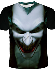 cheap -Men's Daily Holiday Street chic / Exaggerated T-shirt - 3D / Skull / Tie Dye Wolf, Print Black