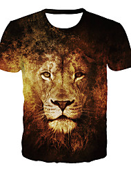 cheap -Men's Daily Club Basic / Exaggerated Plus Size T-shirt - 3D / Graphic / Skull Lion, Print Round Neck Brown / Short Sleeve