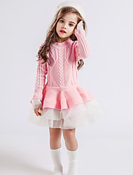 cheap -Kids Toddler Girls' Active Cute Solid Colored Lace Layered Mesh Long Sleeve Mini Dress Blushing Pink