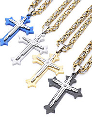 cheap -Men's Pendant Necklace Long Necklace Long Byzantine Cross Crucifix Vintage Fashion Cool Hip Hop Stainless Steel Titanium Steel Black Blue Gold Silver 60 cm Necklace Jewelry For Party Gift Street