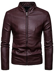 cheap -Men's Daily Fall & Winter Regular Leather Jacket, Solid Colored Stand Long Sleeve PU Black / Wine / Brown