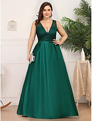 cheap -A-Line Plunging Neck Floor Length Satin / Tulle Plus Size / Elegant Prom / Formal Evening Dress 2020 with