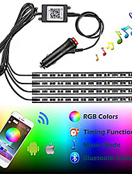 cheap -1set Car RGB LED Neon Interior Light Lamp Strip Decorative 12*4 LED Atmosphere Lights Wireless Phone APP Control For Android IOS 12V