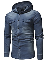 cheap -Men's Daily Fall & Winter EU / US Size Regular Denim Jacket, Solid Colored Hooded Long Sleeve Polyester Black / Blue / Gray