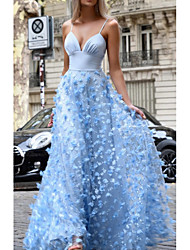 cheap -A-Line Spaghetti Strap Floor Length Tulle Elegant Prom / Formal Evening Dress with Appliques / Embroidery 2020