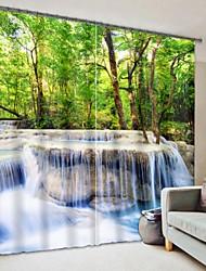 cheap -Water Waterfall Digital Printing 3D Curtain Shading Curtain High Precision Black Silk Fabric High Quality Curtain