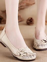 cheap -Women's Flats Flat Heel Round Toe PU Fall & Winter Black / White / Purple