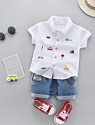 cheap -Baby Boys' Basic Geometric Short Sleeve Regular Regular Clothing Set Light Blue