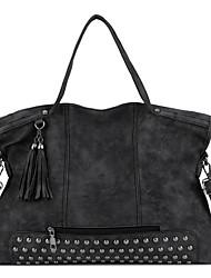 cheap -Women's Zipper PU Top Handle Bag Solid Color Black / Red / Gray