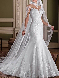 cheap -Mermaid / Trumpet High Neck Sweep / Brush Train Lace Long Sleeve Sexy See-Through / Illusion Sleeve Wedding Dresses with 2020
