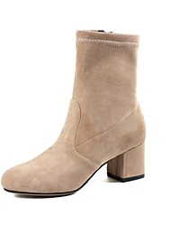 cheap -Women's Boots Chunky Heel Round Toe Faux Leather Booties / Ankle Boots Casual / Minimalism Walking Shoes Spring / Fall & Winter Black / Beige