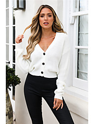 cheap -Women's Solid Colored Long Sleeve Cardigan Sweater Jumper, Plunging Neck Fall White S / M / L