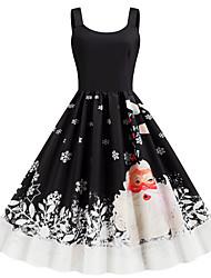 cheap -Women's Christmas Party Daily Wear Basic A Line Dress - Color Block Strap Black S M L XL