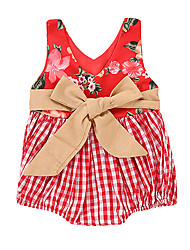 cheap -Baby Girls' Active Floral / Plaid Bow / Print Sleeveless Bodysuit Red