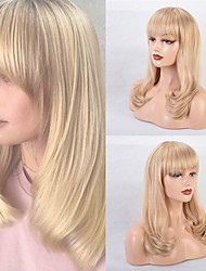 cheap -Human Hair Blend Wig Long Straight Natural Straight Bob Pixie Cut Layered Haircut Asymmetrical Blonde Classic Fashion Comfortable Capless Women's All Beige Blonde / Bleached Blonde 24 inch