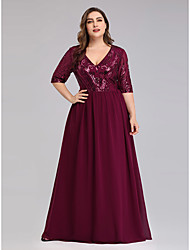 cheap -A-Line Elegant Plus Size Prom Formal Evening Dress Plunging Neck Half Sleeve Floor Length Chiffon Lace with 2020