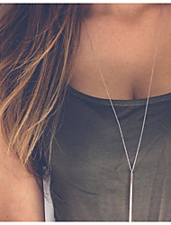 cheap -Women's Pendant Necklace Necklace Double Layered Shell Casual / Sporty Fashion Modern Chrome Silver 42+5 cm Necklace Jewelry For Daily Holiday Street Work / Layered Necklace
