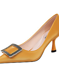 cheap -Women's Heels Stiletto Heel Pointed Toe Sparkling Glitter / Buckle PU Minimalism Spring & Summer Black / Almond / Yellow / Party & Evening