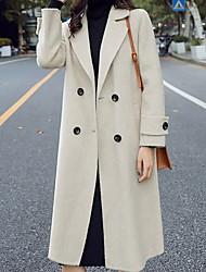 abordables -Femme Quotidien Longue Manteau, Couleur Pleine Revers en Pointe Manches Longues Polyester Noir / Bleu / Beige