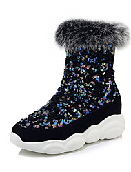 cheap -Women's Boots Comfort Shoes Sculptural Heel Round Toe PU Mid-Calf Boots Preppy / Minimalism Fall & Winter Black / White / Silver