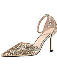 cheap -Women's Wedding Shoes Stiletto Heel Pointed Toe Sequin Synthetics Minimalism Fall / Spring & Summer Black / Champagne / Gold / Party & Evening