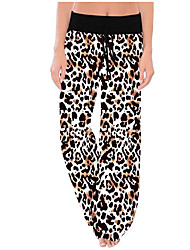 cheap -Women's Street chic Wide Leg Pants - Leopard Black White Gray S M L