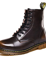 cheap -Men's Combat Boots Cowhide Winter Boots Booties / Ankle Boots Black / Brown / Red