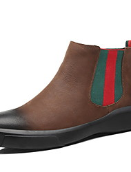 cheap -Men's Comfort Shoes Cowhide Winter Boots Booties / Ankle Boots Black / Khaki