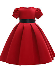cheap -A-Line Long Length Party / Pageant Flower Girl Dresses - Satin / Poly&Cotton Blend Short Sleeve Jewel Neck with Belt / Solid