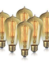 cheap -6pcs 40 W E26 / E27 ST58 Warm White 2200 k Incandescent Vintage Edison Light Bulb 220-240 V