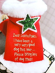 cheap -Dog Costume Cape Winter Dog Clothes Red Costume Polyster Stars Slogan Cosplay Christmas XS S M L XL