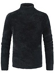 cheap -Men's Solid Colored Long Sleeve Slim Pullover Sweater Jumper, Turtleneck Black / White / Red XXXL