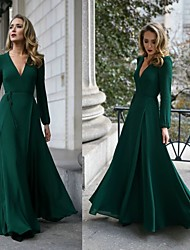 cheap -A-Line Plunging Neck Floor Length Chiffon Elegant Formal Evening Dress with Sash / Ribbon 2020