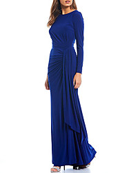 cheap -Sheath / Column Jewel Neck Floor Length Spandex Long Sleeve Elegant & Luxurious Mother of the Bride Dress with Ruching 2020