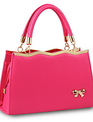cheap -Women's Zipper Cowhide Top Handle Bag Solid Color Black / Blushing Pink / Fuchsia