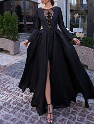 cheap -Ball Gown Luxurious Black Engagement Formal Evening Dress Illusion Neck Long Sleeve Floor Length Satin with Split Overskirt Lace Insert 2020