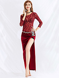 cheap -Belly Dance Dresses Women's Training / Performance Tulle / Pleuche Beading / Split Short Sleeve Natural Skirts / Top