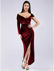 cheap -Sheath / Column Off Shoulder Asymmetrical Velvet Elegant Formal Evening Dress 2020 with