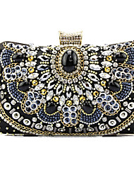 cheap -Women's Crystals / Chain Satin Evening Bag Solid Color Black
