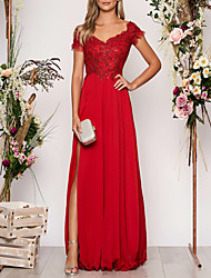 cheap -A-Line V Neck Floor Length Chiffon Empire / Red Prom / Formal Evening Dress with Sequin / Appliques / Split Front 2020