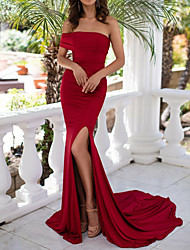 cheap -Mermaid / Trumpet Sexy Red Engagement Formal Evening Dress Off Shoulder Sleeveless Court Train Polyester with Split 2020