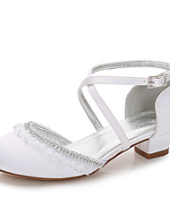 cheap -Girls' Mary Jane Satin Heels Little Kids(4-7ys) / Big Kids(7years +) Rhinestone / Stitching Lace White / Ivory Spring / Party & Evening